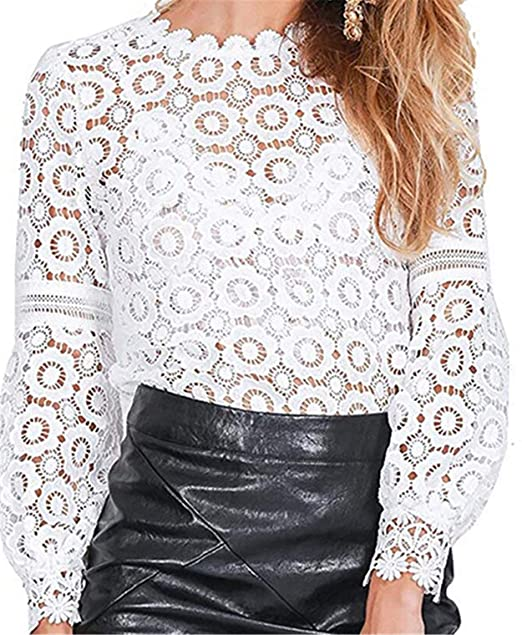 97fea6f8859f71 Women's Tops T-Shirt Lace Blouse Ladies Long Sleeve Casual Shirt White