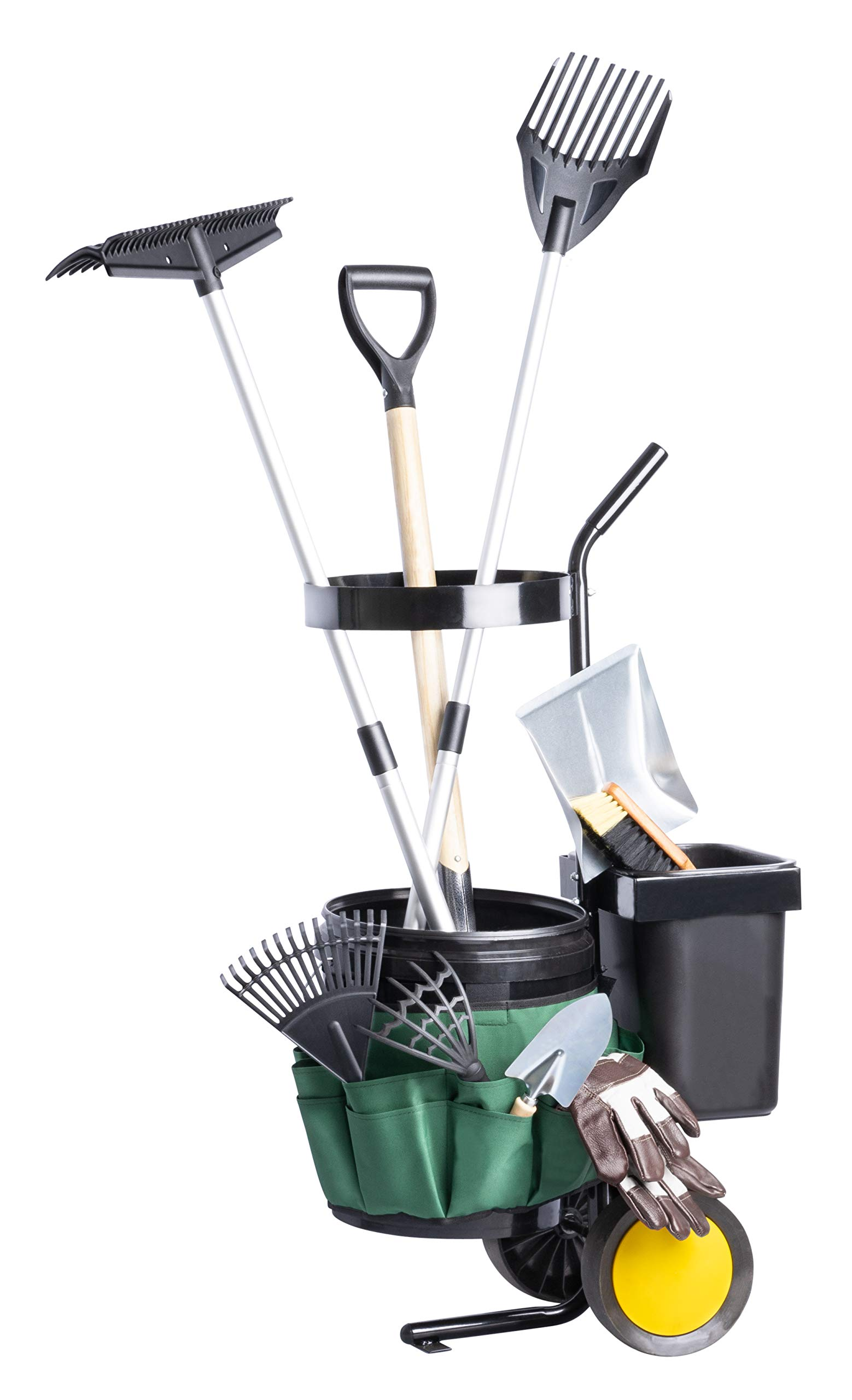 UPP Garden Trolley | Carrier for Big Gardening Tools and Holds 12 Hand Tools | Garden Cart With 2 Buckets for Potting Soil or Yard Waste | Garden Tools Storage on Wheels