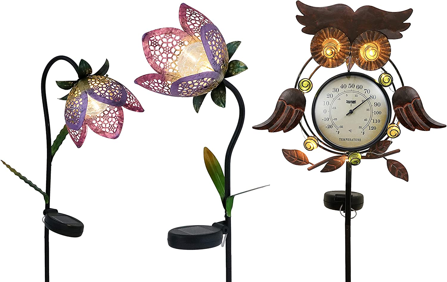 TERESA'S COLLECTIONS Garden Solar Lights Stakes Outdoor Decorations Bundle | Decorative Metal Flower and Owl Thermometer Stakes Decor for Outside Yard Patio Porch