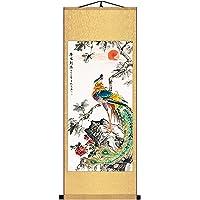 Skyseen Asian Silk Scroll Painting Phoenix Peacock Painting