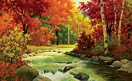 faim paintings canvas print of landscape art autumn river wood