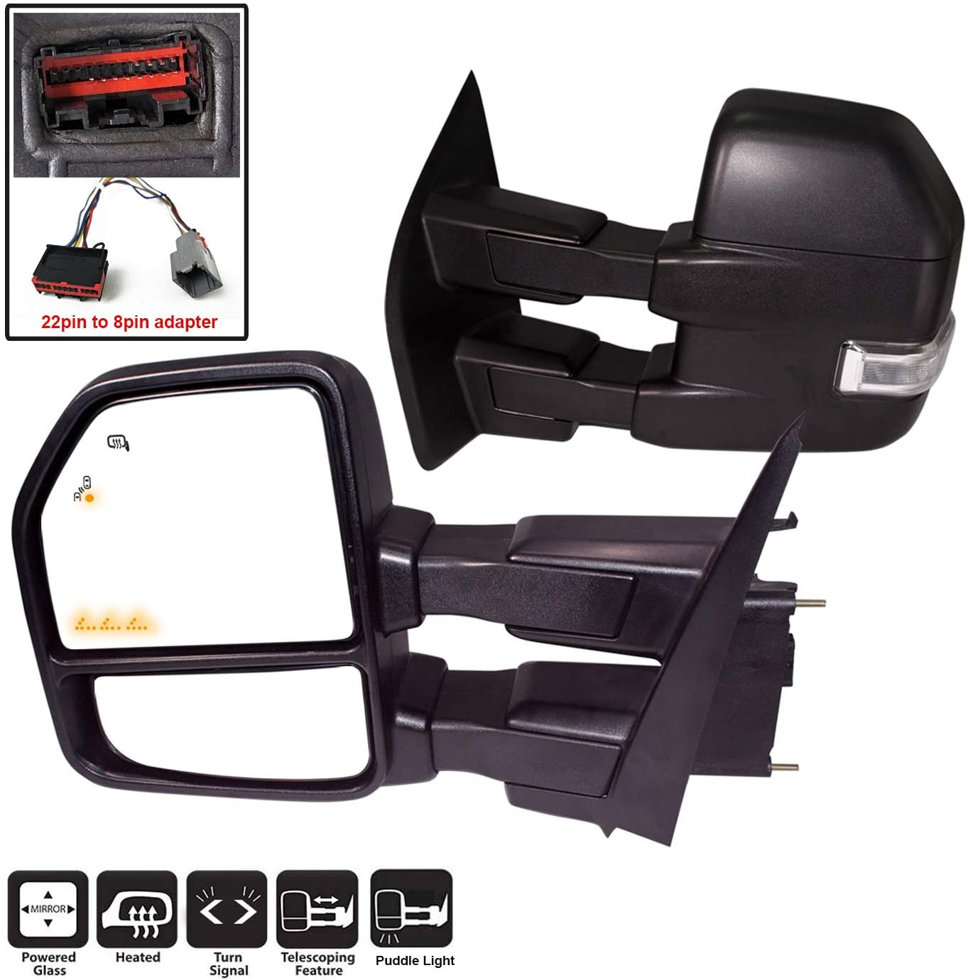 Fits 2015-2018 Ford F150 Power+Heated+LED Signal Chrome Tow Mirrors 8Pin /& 22Pin