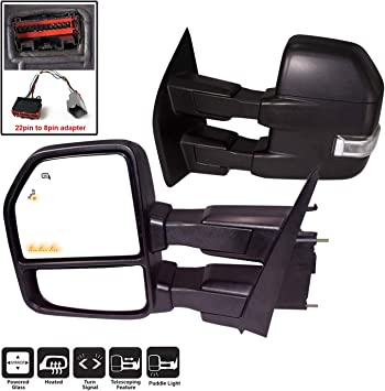 Right Side Only Heated OE Style Replacement Side Mirror for 2015-19 Ford F150 Powered Glass Black Turn Signals Puddle Lights