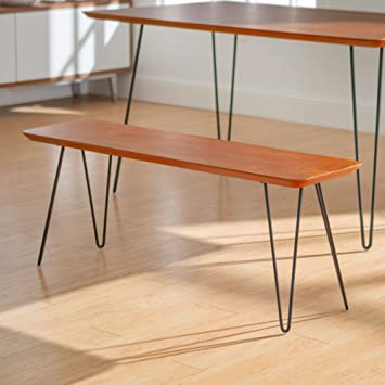 Phenomenal We Furniture Azb56Hpdwt Mid Century Modern Wood Hairpin 3 Person Dining Bench 56 Inch Walnut Ibusinesslaw Wood Chair Design Ideas Ibusinesslaworg