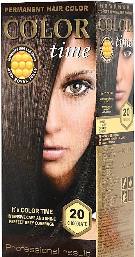 Color time, tinte permanente para el cabello de color chocolate 20