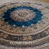 Yilong 9.1 x9.1  Large Handmade Silk Carpet Round Traditional Oriental Tabriz Floral Medallion Hand Knotted Floor...