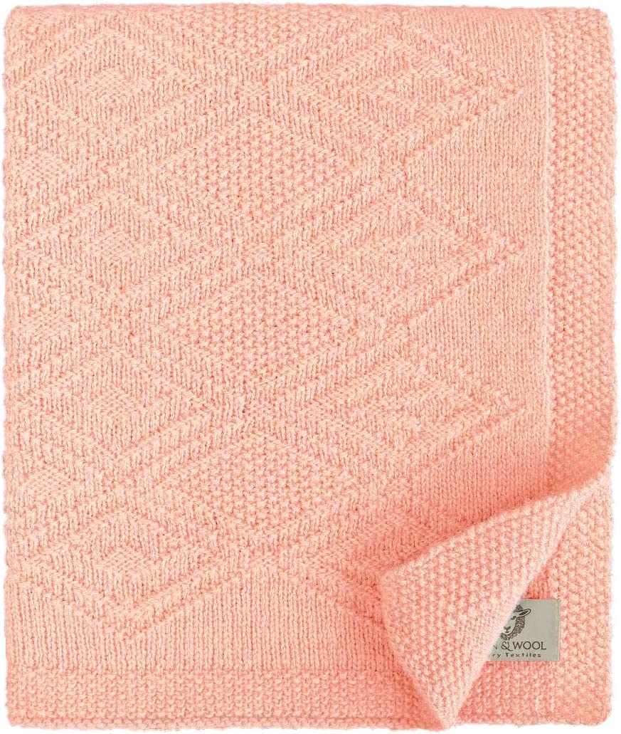 Linen & Cotton Mantita de Arrullo/Manta de Cama de Punto/Manta de Forro para Bebé Recién Nacido Lilou - 100% Pura Lana de Nueva Zelanda, Rosa Pink (85 x 65cm) para Cuna, Cochecito, Silla de Paseo