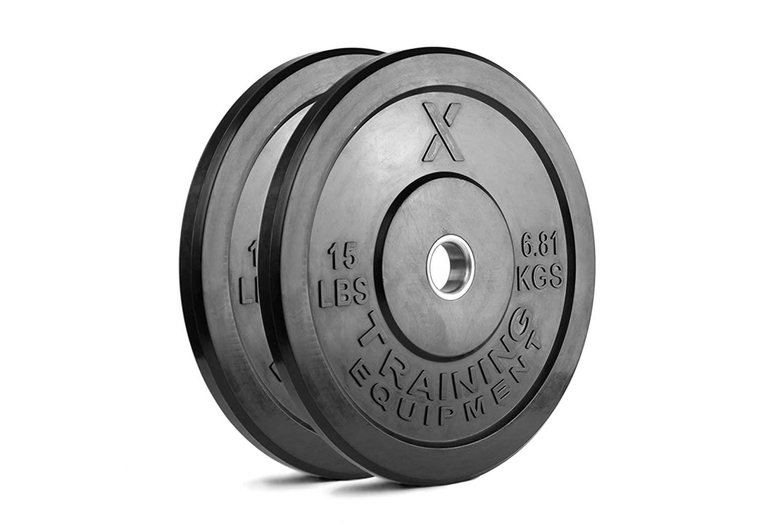 X Training Equipment Premium Black Bumper Plate Solid Rubber with Steel Insert – Great for Crossfit Workouts