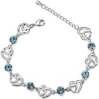Swarovski Elementos Cristal Azul de enclavamiento doble Corazón Chapado en Plata de ley con circonita Pulsera,Regalos…