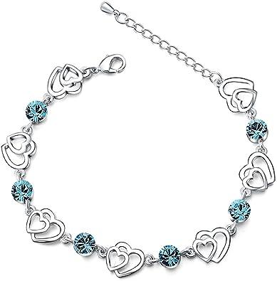 Bracelet swarovski en cristal bleu avec cœurs entrelacés en argent