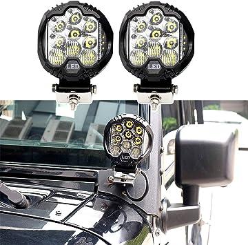 """2X 3/"""" 16W Led Work Light Cube Pods Spot Light+For Jeep Wrangler TJ Mount Bracket"""