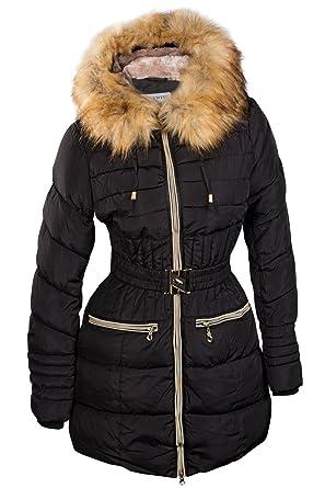 Abrigo de invierno para mujer, parka con pelo, con capucha, pelo largo, Alaska Gold, S M L XL XXL negro XL : Amazon.es: Ropa y accesorios