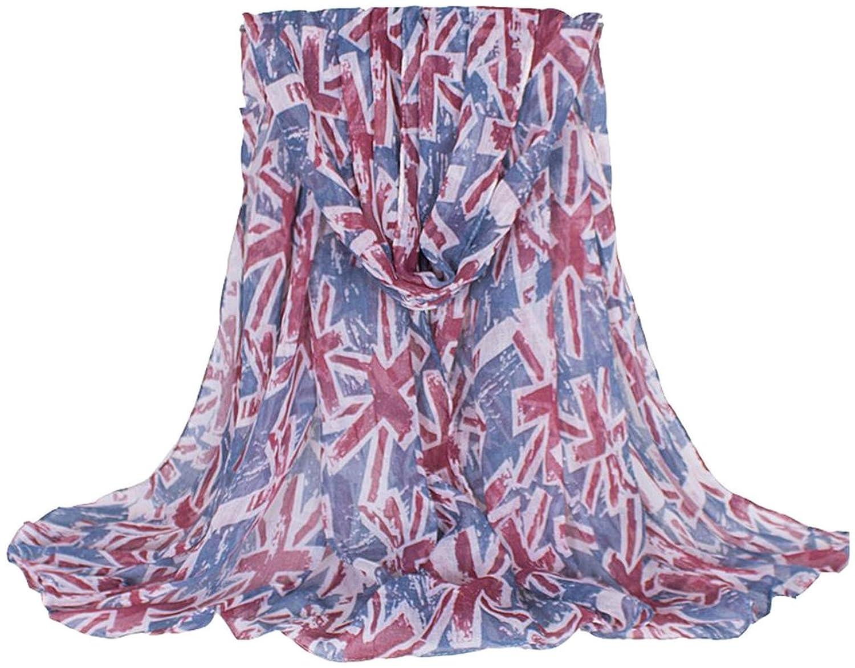 Bettyhome Women Girl's Spring Soft Sheer Star Flag Chiffon Scarves Woven Wrap Long Scarf