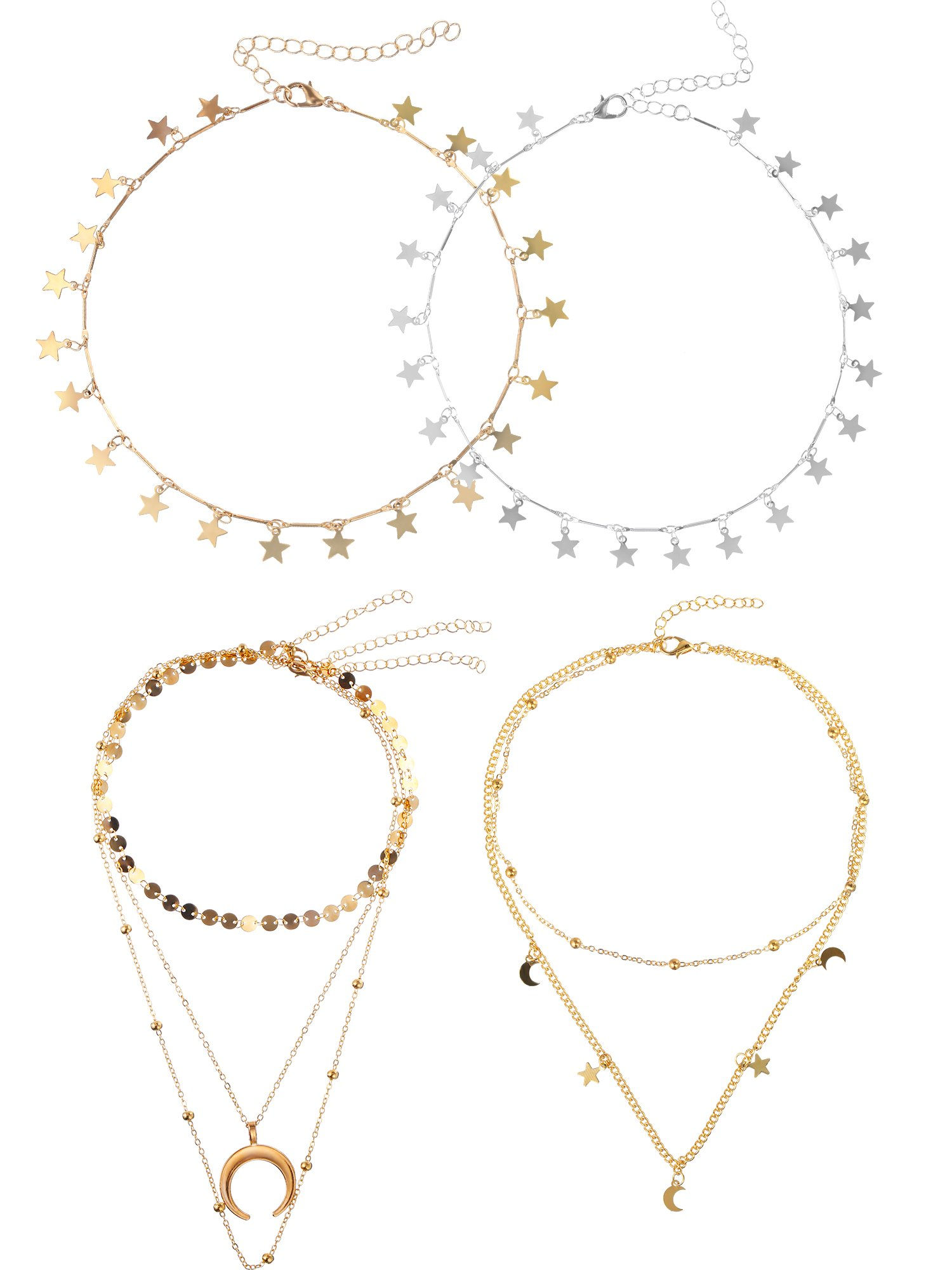 Tatuo 4 Pieces Choker Necklace Moon Lucky Star Shape Charm Necklace Chain Jewelry for Women Girls