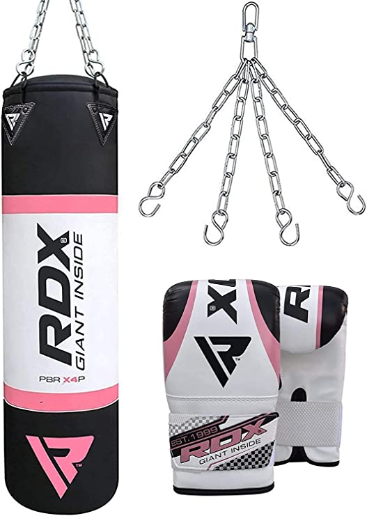 80CM 3ft Filled Heavy Punch Boxing Bag Chain Gloves Wraps Kick Steel Chain Gym
