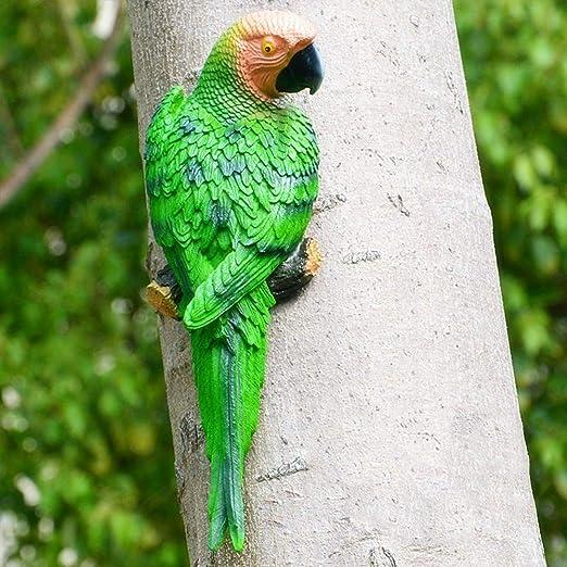 Yongan Simulación Pájaro Loro Escultura, Artificial Resina Figuras Miniatura Animal Modelo Pájaros para Jardín Escritorio Patio Decoración - Green-1#, Free Size: Amazon.es: Jardín