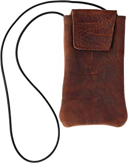 product image for Boston Leather Textured Bison Leather Eyeglass Case with Neck String