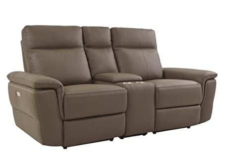 Homelegance Olympia Power Reclining Loveseat with Center Cup Holder Console & USB Charging Port Top Grain Leather Match, Raisin