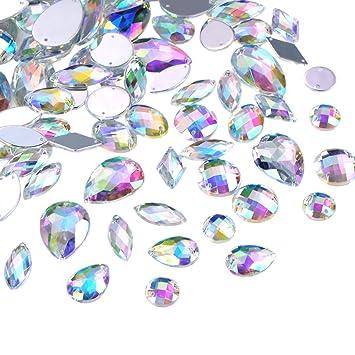 8e186620585d 108 Piezas Gemas Transparentes AB Cristales de Coser de Acrílico Facetados  Diamantes de Imitación de Espalda Plana para Decoración de Vestido Ropa  ...