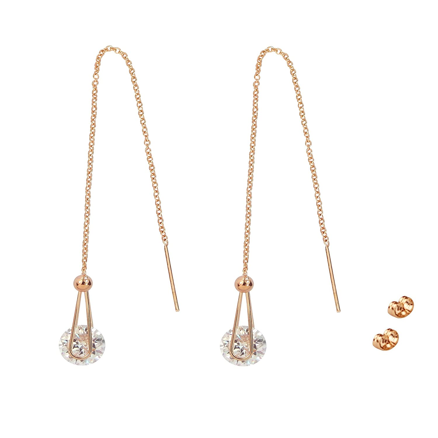 TOP TRENDY Style - Rose Gold Plated Pull Through Threader Long Chain Drop Tassel Cubic Zirconia Dangle Earrings