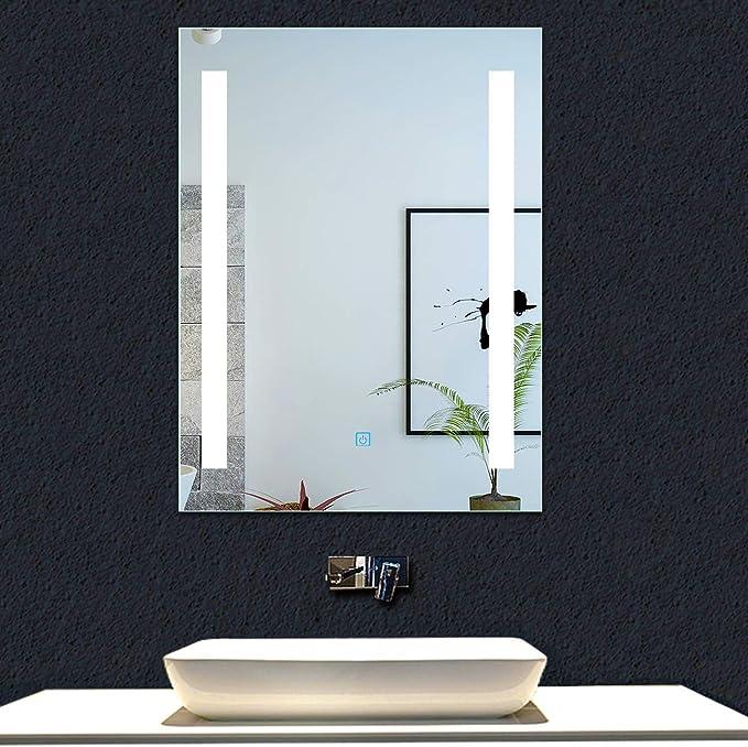 AICA SANITARIOS Espejo de baño 60x80 cm Espejo led - Interruptor Táctil - Función Anti-Niebla - Frío Blanco (6000K) - Espejo de Pared - Espejo con iluminación: Amazon.es: Hogar