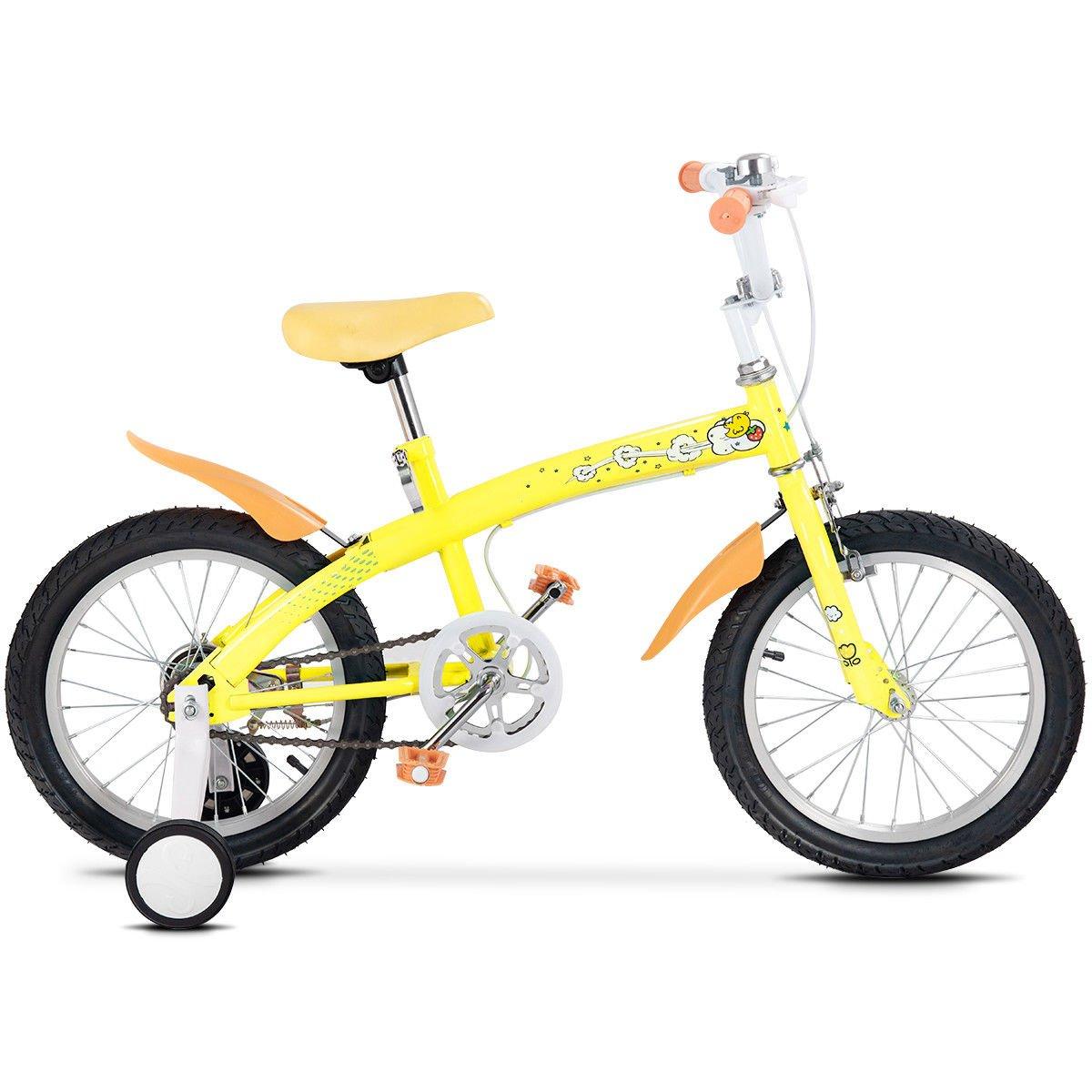 FDInspiration Yellow 45'' x 31.5'' Metal Frame Kids Bike w/Training Wheels with Ebook by FDInspiration (Image #4)
