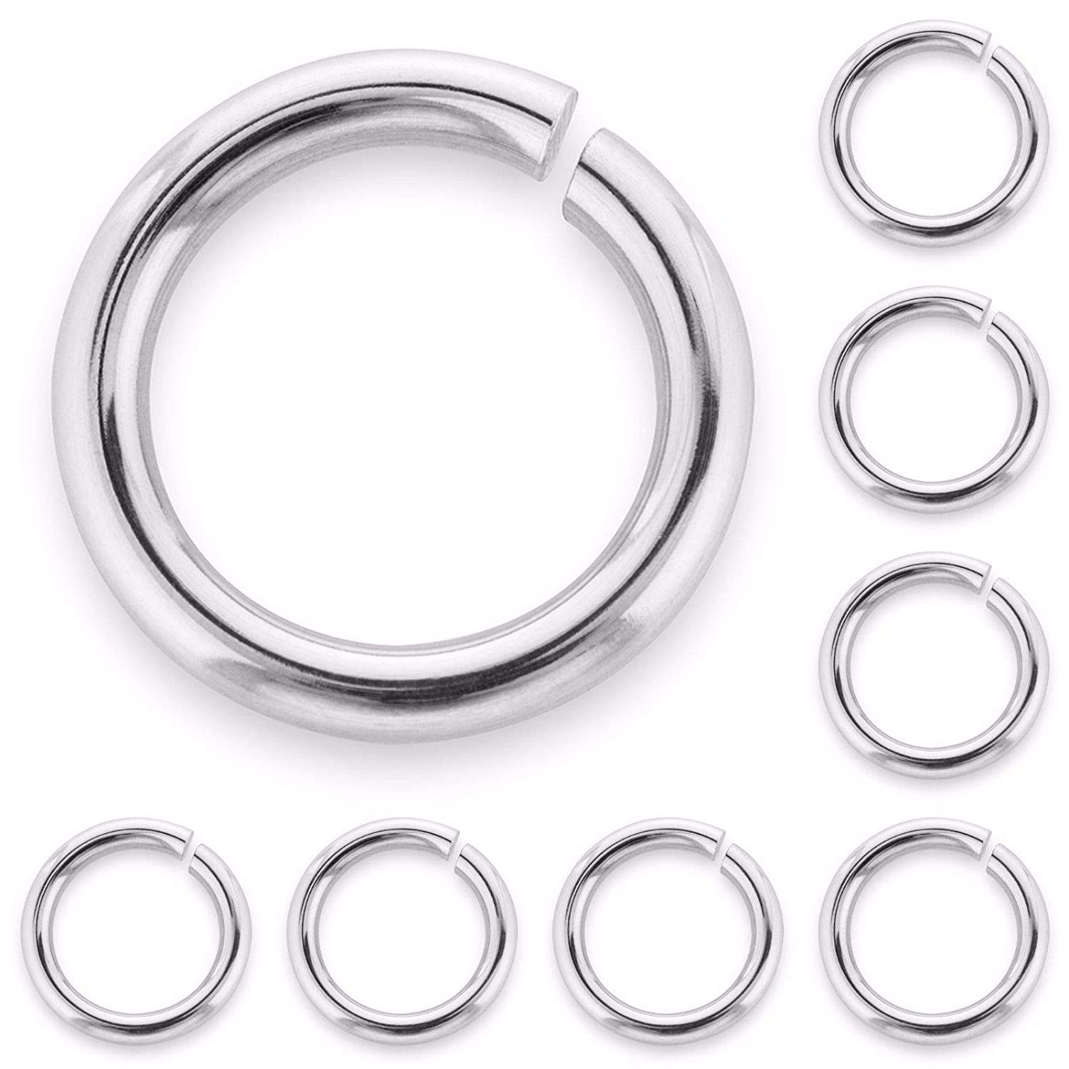 5 x Solid Sterling Silver Jump Rings - Open 6mm Good Quality Heavy Strong na