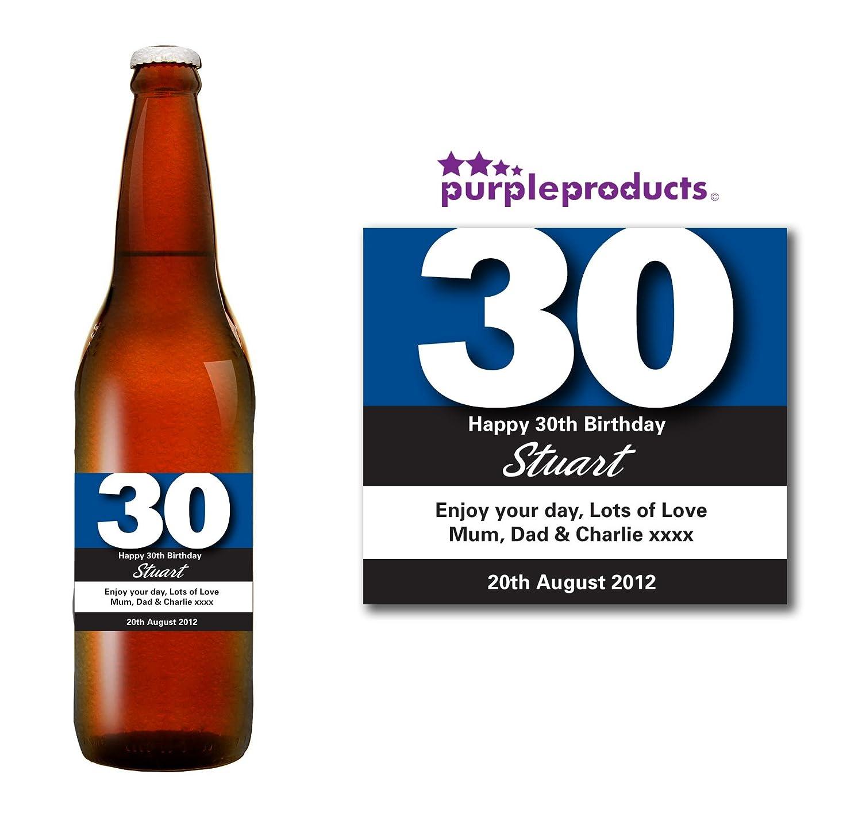 Bouteille de bière personnalisée pour 30e anniversaire, couleur bleue, cadeau pour homme ou femme