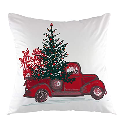 ofloral christmas red truck decorative throw pillow cover fir tree red balls holiday pillow case square - Christmas Truck Decor
