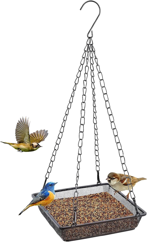 Gtongoko Hanging Bird Feeder Tray, Metal Mesh Hanging Seed Tray Feeders, Food Platform for Bird Feeders,Outside Decoration Wild Backyard Attracting Birds (Square 1 Pack)