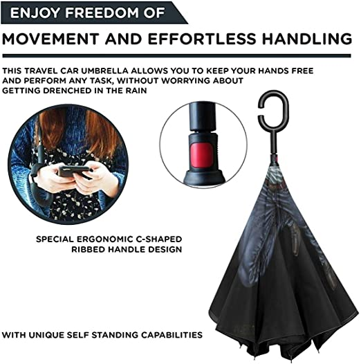 Hgnhgbn Master Kung Fu Nunchucks Windproof And UV Resistant Fabric Car Reverse Umbrella