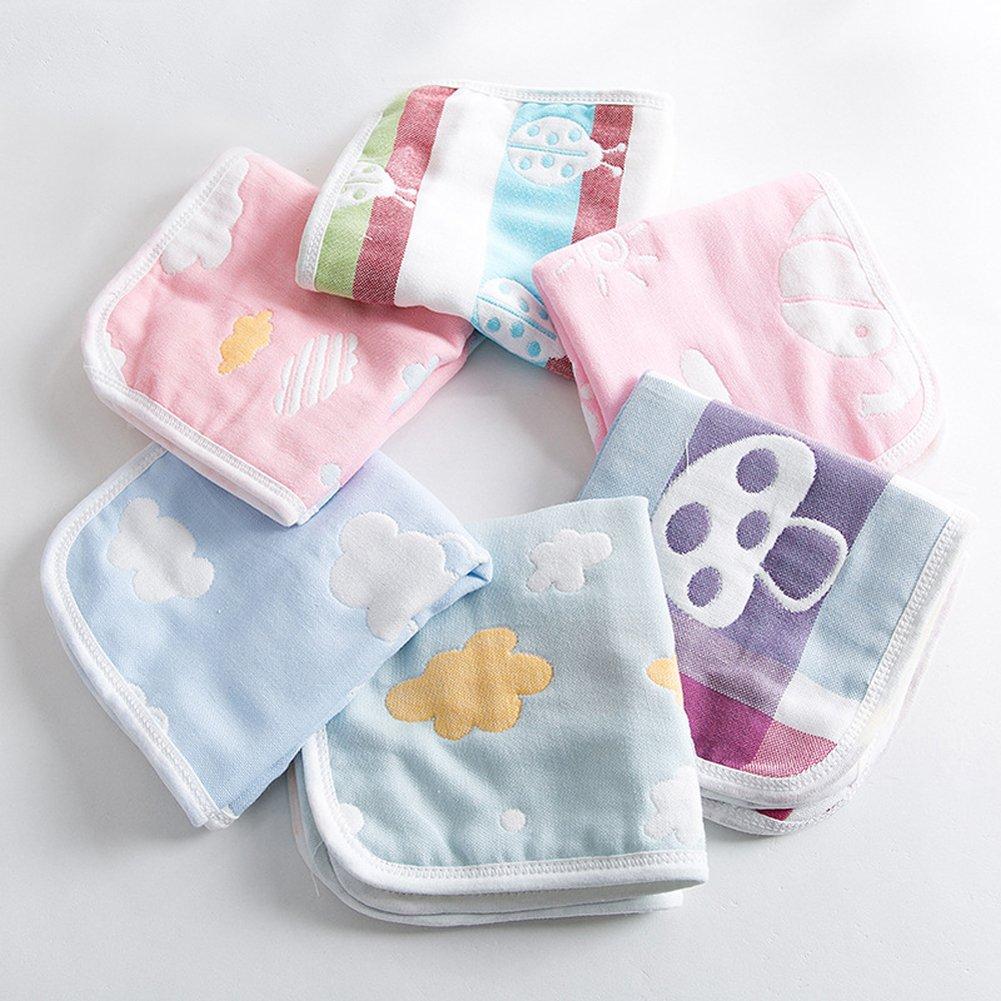 ECHERY 6 piezas de algodón dulce bebé pañuelo toallitas toallitas reutilizables toallas de baño ducha toalla de enfermería: Amazon.es: Bebé