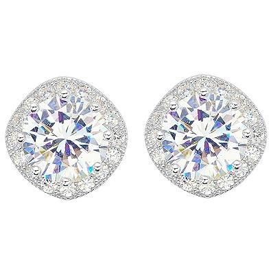 EVER FAITH 925 Sterling Silver Cubic Zirconia Elegant Cushion Cut Halo Stud Earrings