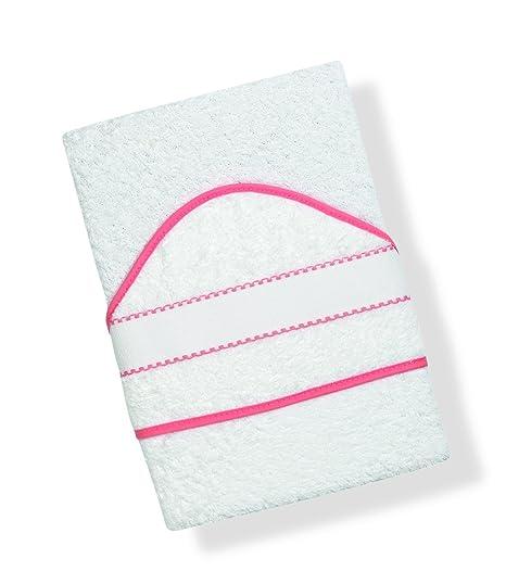 INTERBABY, Toalla de baño bordado de punto de cruz, blanco/rosa (blanco