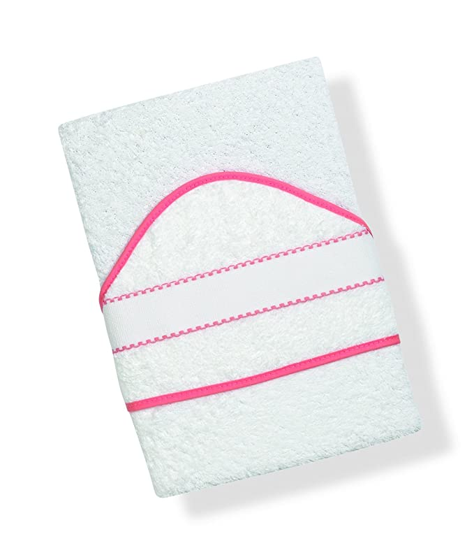 INTERBABY, Toalla de baño bordado de punto de cruz, blanco/rosa (blanco/rosa): Amazon.es: Bebé