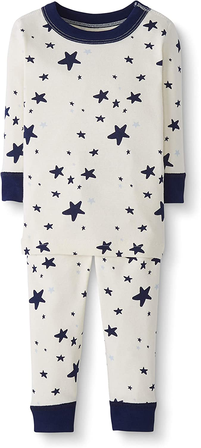 5T Moon and Back by Hanna Andersson Baby//Toddler 2-Piece Organic Cotton Long Sleeve Star Print Pajama Set Navy