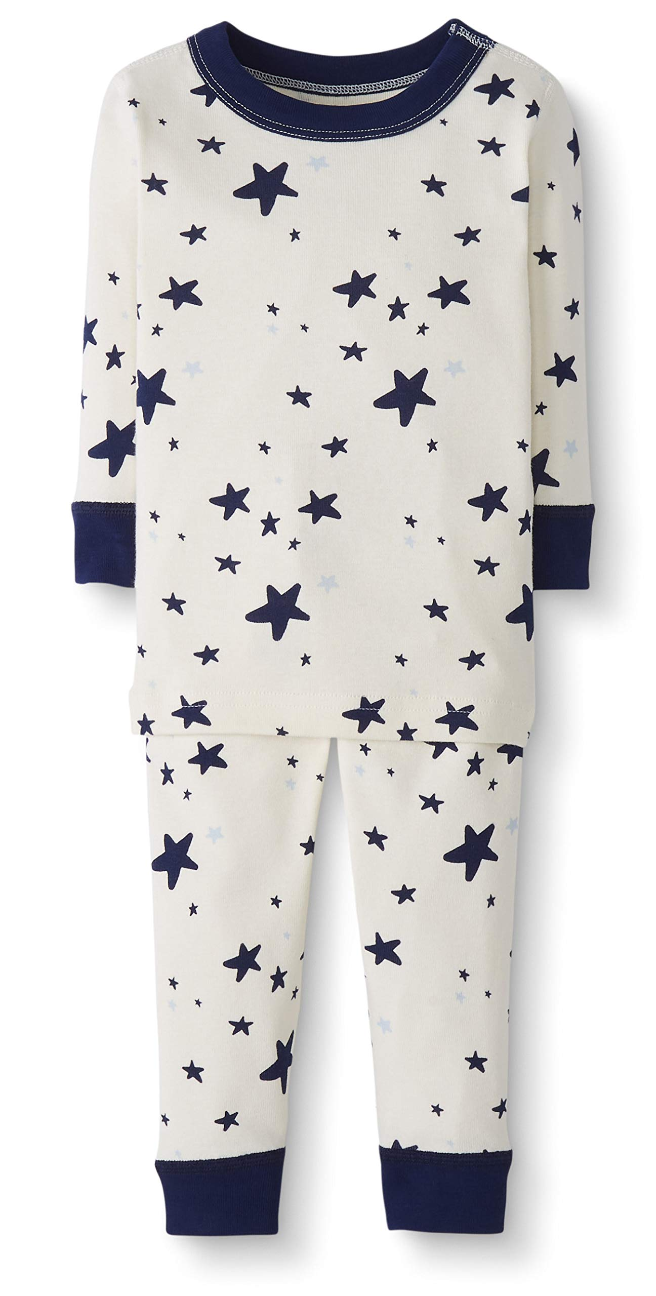 Moon and Back by Hanna Andersson Baby/Toddler 2-Piece Organic Cotton Long Sleeve Star Print Pajama Set, Navy, 3T by Moon and Back by Hanna Andersson