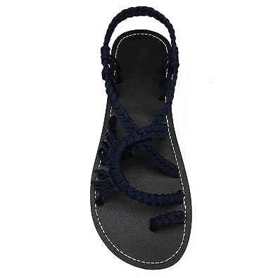 9a09f4c5e69396 EAST LANDER Flat Sandals for Women Braided Strap Beach Shoes ZD002-W3-4 BD