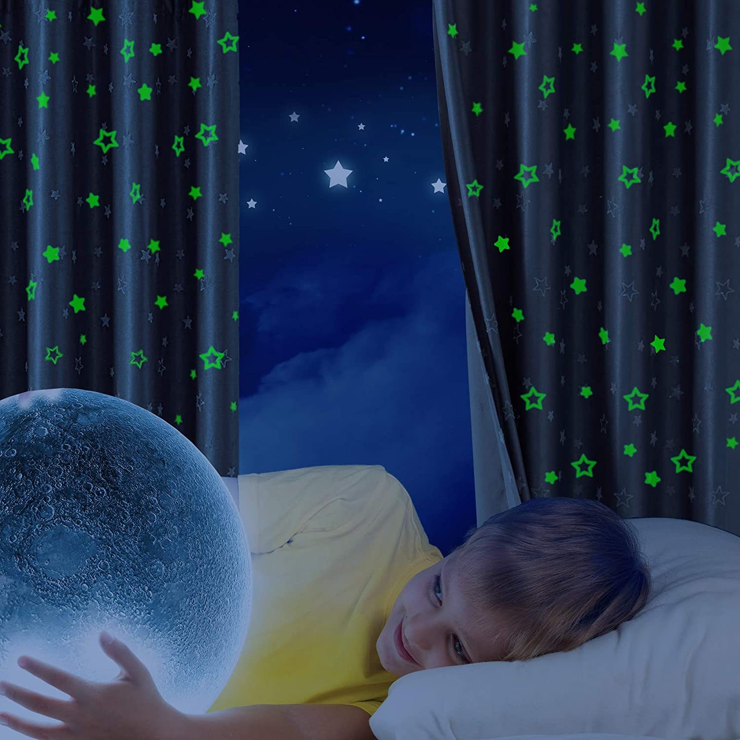 Hughapy Glow in The Dark Curtains Star Blackout Curtain Thermal Insulated Grommet Window Curtains for Kids Bedroom,2 Panels (52 x 63 Inch, Grey)
