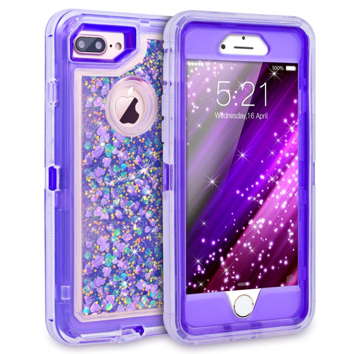 Galleon - IPhone 7 Plus Case, Dexnor Glitter 3D Bling Sparkle Flowing Liquid Case Transparent 3 ...