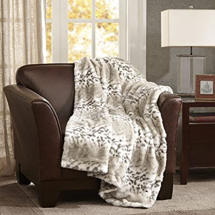 Madison Park Signature Serengeti Luxury Luxury Faux Fur Throw Snow Leopard  5060 Premium Soft Cozy Brushed