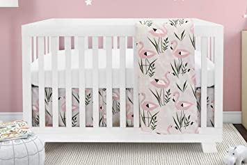 Boobeyeh Design Baby Crib Bedding For Girls And Boys Pink And White Flamingo Design