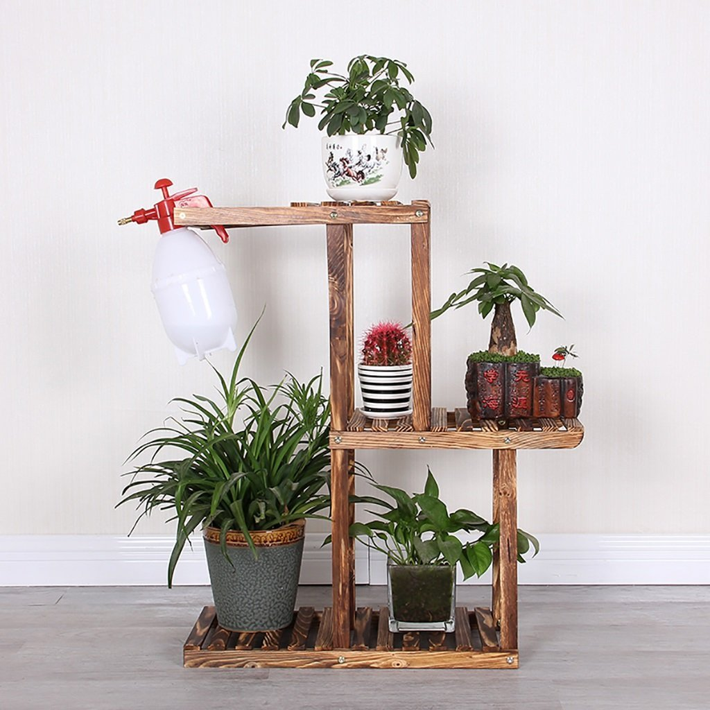 JHZWHJ Wooden Flower Rack Indoor Plant Stand Wooden Plant Flower Display Stand Wood Pot Shelf Storage Rack Outdoor (Color : A)