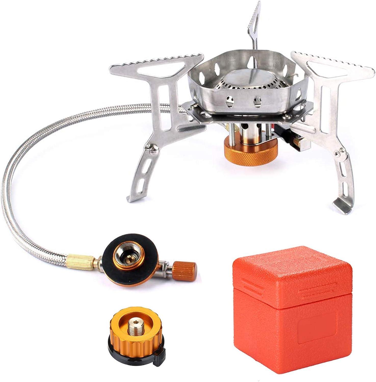 Odoland Mini Estufa de Camping, Hornillos de Acampada Plegable de Acero con Encendido Piezoeléctrico, Estufa de Camping de Gas Ultraligera y Duradera ...