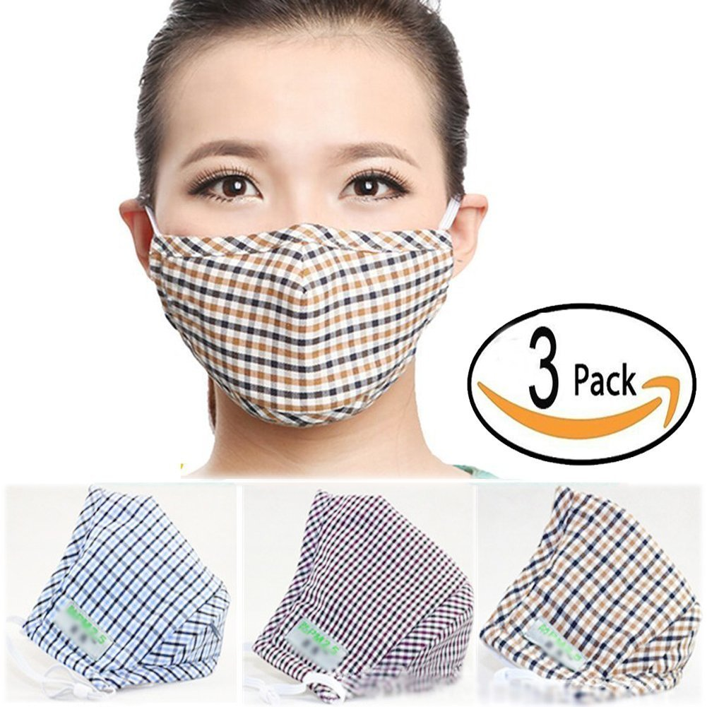 Lot de 3 masques BXT anti-poussiè re en coton chaud et charbon actif avec gaufrage petits carreaux en 3D - unisexe BXT-Home