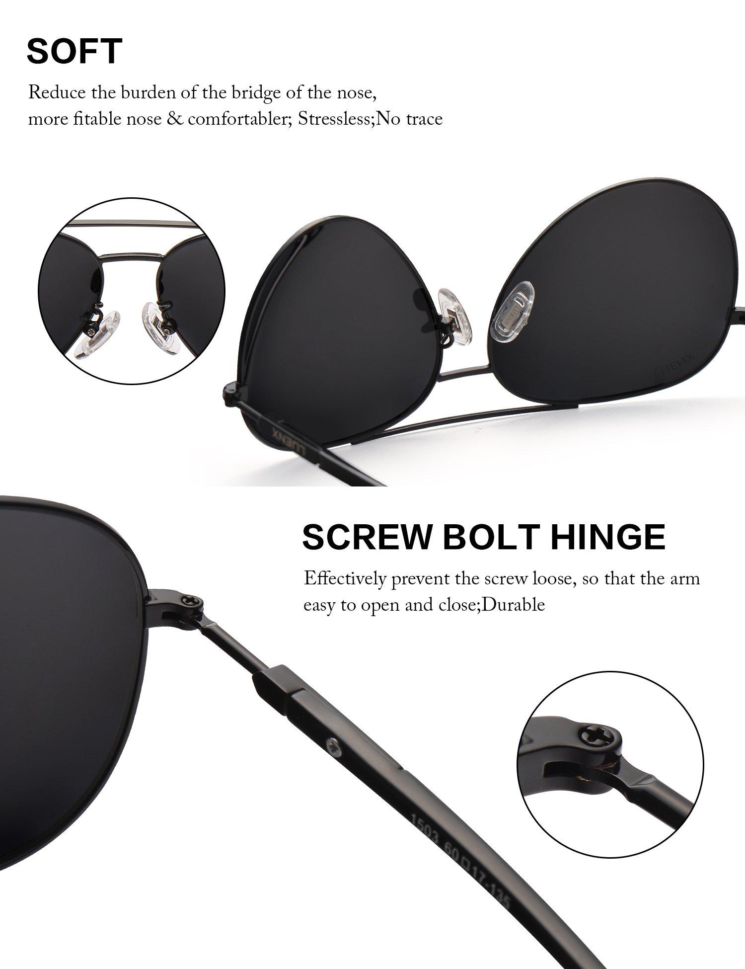 a7bce1b370 LUENX Men Aviator Sunglasses Polarized Women - UV 400 with case 60MM ...