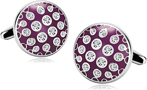 Coniea 2Pcs Acero Inoxidable Gemelos para Novios Personalizados Circonita Cúbica Tachonada Rosa Redonda Rouge Gemelos Camisa Hombre: Amazon.es: Joyería