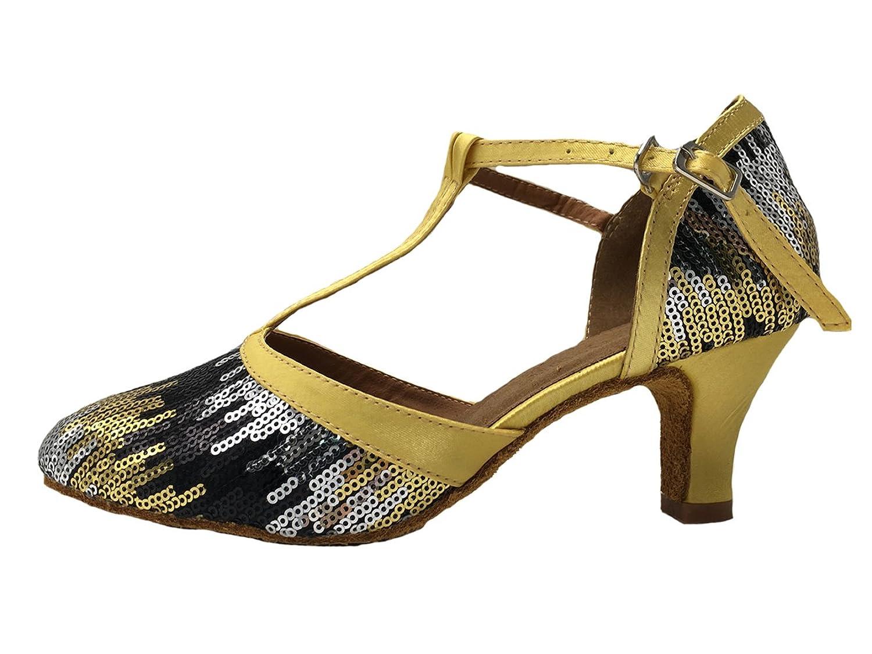 Honeystore Damen's Geschlossene Zehe T-Riemen Glitter Tanzschuhe Gold 3.5 UK qYL0f2Yc