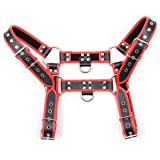 ClearUm Men's Leather Body Chest Harness Belt with Double-Shoulder Cage Belt Adjustable