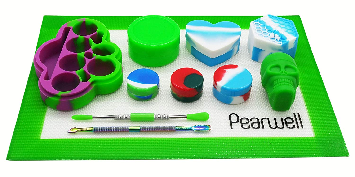 Set of 11 1 Blue Rectangle Mat Pearwell Silicone Wax Jar Concentrate Kit 8 Silicone Containers 2 Carving Tool Blue